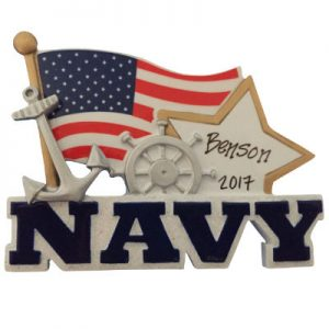 Navy Flag & Star Christmas Ornament