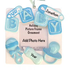 Blue Baby Photo Frame Personalized Christmas Ornament