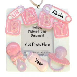 Pink Baby Photo Frame Personalized Christmas Ornament