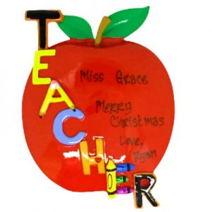 Teacher Apple Personalized Ornament