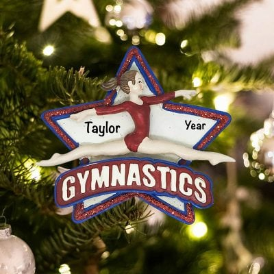 Personalized Gymnastics Star Christmas Ornament