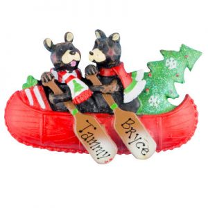 Bear Canoe Family of 2 Personalized Ornament