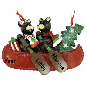 Bear Canoe Couple Personalized Christmas Ornament