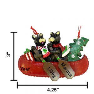 Bear Canoe Family of 2 Personalized Christmas Ornament