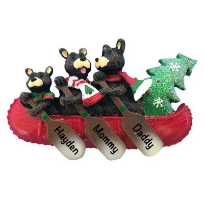 Bear Canoe Family of 3 Personalized Christmas Ornament