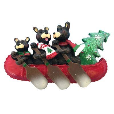 Bear Canoe Family of 3 Personalized Christmas Ornament - Blank