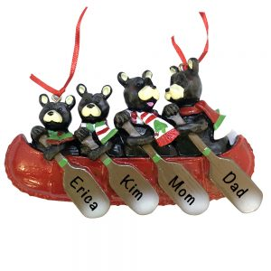Bear Canoe Family of 4 Personalized Christmas Ornament