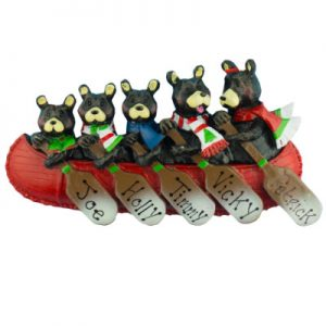 Bear Canoe Family of 5 Christmas Ornament