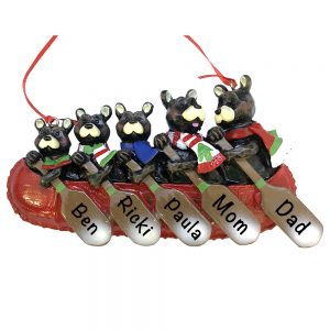 Bear Canoe Family of 5 Personalized Christmas Ornament