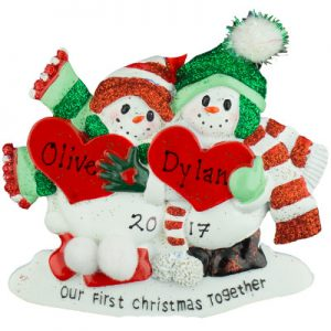 Our 1st Christmas Snow Couple Personalized Ornament
