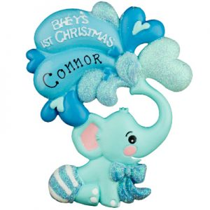 Blue Baby's 1st Christmas Elephant Personalized Ornament