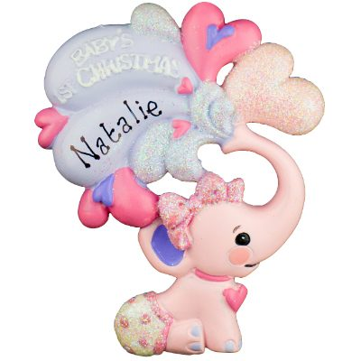 Pink Baby's 1st Christmas Elephant Personalized Ornament