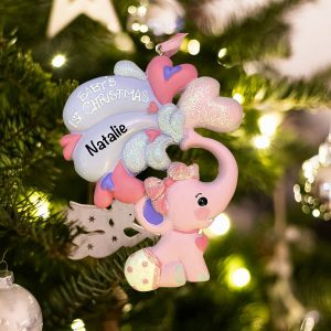 Personalized Baby's 1st Christmas Elephant Pink Christmas Ornament