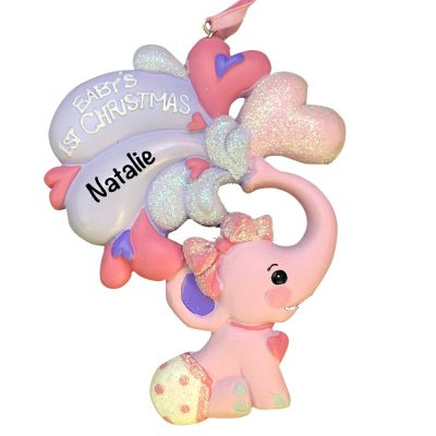 Pink Baby's 1st Christmas Elephant Personalized Christmas Ornament