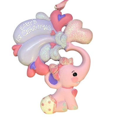 Pink Baby's 1st Christmas Elephant Personalized Christmas Ornament - Blank