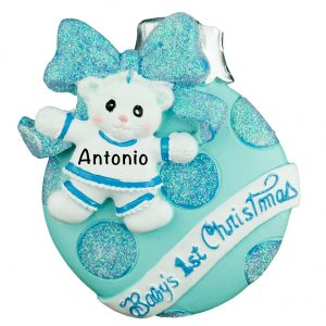 Baby Boy's 1st Christmas Ball Personalized Christmas Ornament