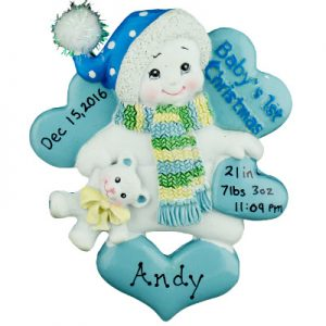 Blue Baby's 1st Christmas Snowbaby Personalized Ornament