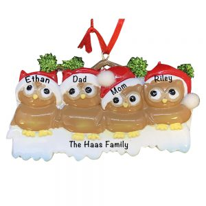 Brown Owl Family of 4 Personalized Christmas Ornament