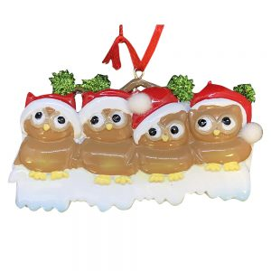 Brown Owl Family of 4 Personalized Christmas Ornament - Blank