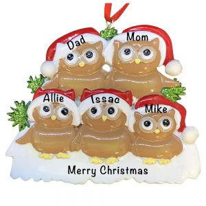 Brown Owl Family of 5 Personalized Christmas Ornament