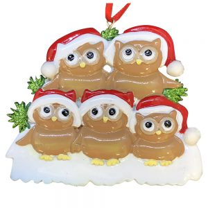 Brown Owl Family of 5 Personalized Christmas Ornament - Blank
