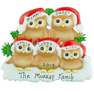 Brown Owl Family of 5 Personalized Ornament