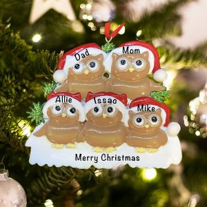 Personalized Brown Owl Family of 5 Christmas Ornament