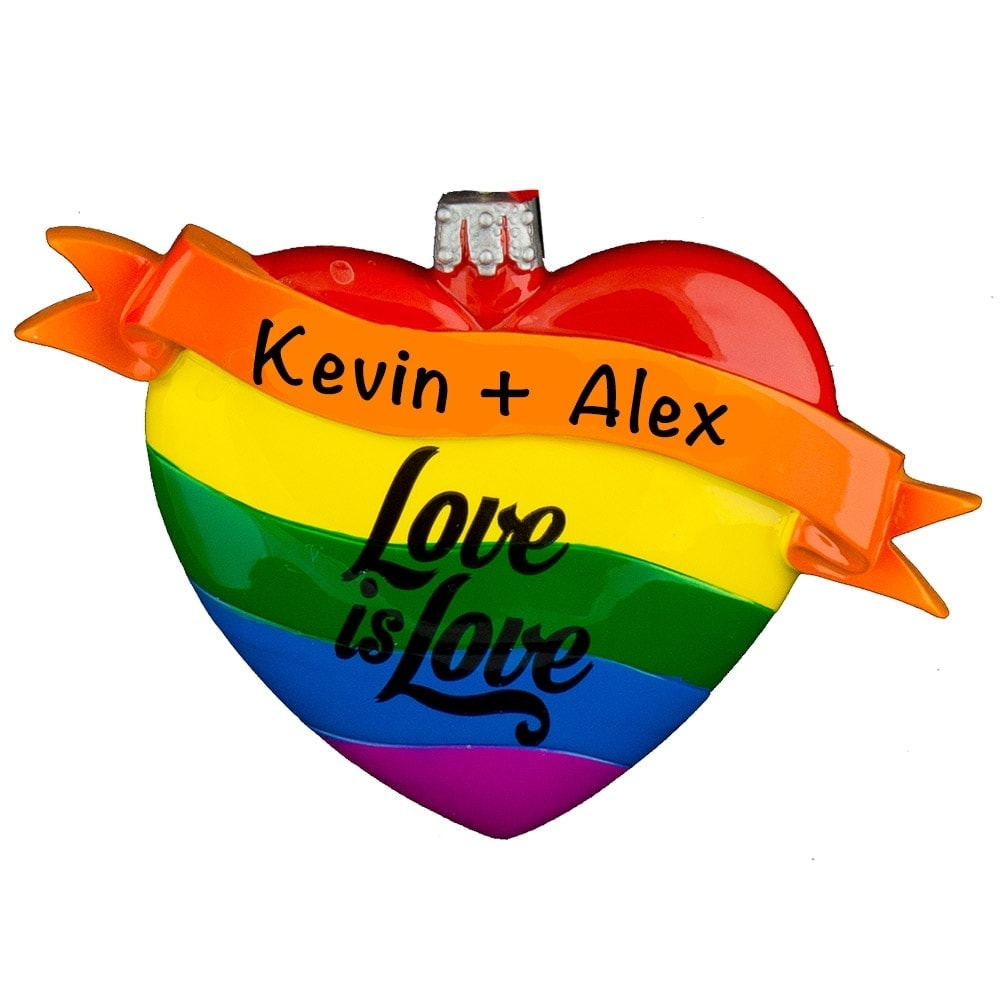 Love Is Love Gay Personalized Christmas Ornament
