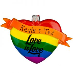 Rainbow Love Is Love Personalized Ornament