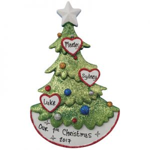 Christmas Tree Family of Three Christmas Ornament