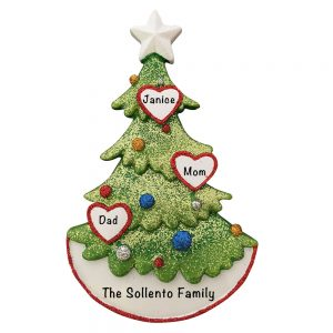 Christmas Tree Family of 3 Personalized Christmas Ornament
