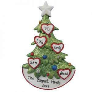 Christmas Tree Family of Five Christmas Ornament