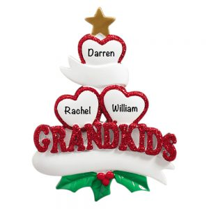 Grandkids Family of 3 Personalized Christmas Ornament
