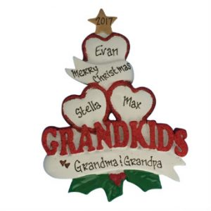 Grandkids Hearts Personalized Christmas Ornament Family Of 3