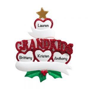 Grandkids Family of 4 Personalized Christmas Ornament