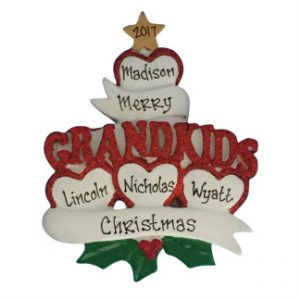Grandkids Hearts Personalized Christmas Ornament Family Of 4