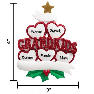 Five Grandkids Personalized Christmas Ornament