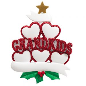 Grandkids Family of 5 Personalized Christmas Ornaments - Blank