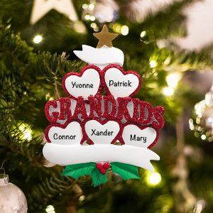 Personalized Grandkids 5 Christmas Ornament