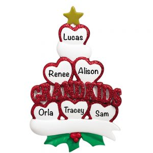 Grandkids Family of 6 Personalized Christmas Ornament