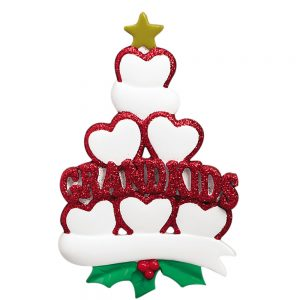 Grandkids Family of 6 Personalized Christmas Ornaments - Blank