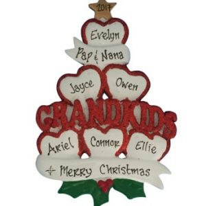 Grandkids Hearts Personalized Christmas Ornament Family Of 6