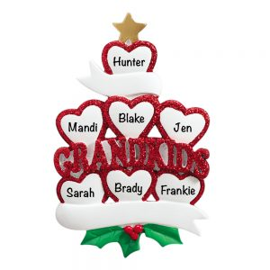 Grandkids Family of 7 Personalized Christmas Ornaments