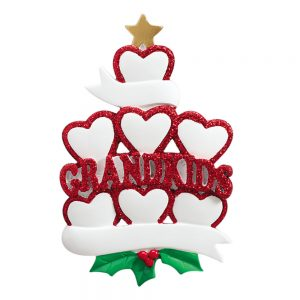 Grandkids Family of 7 Personalized Christmas Ornaments - Blank