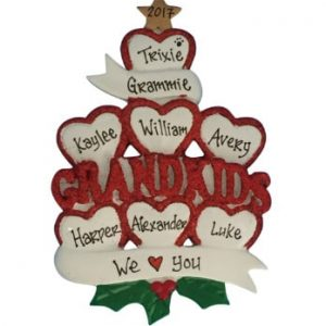Grandkids Hearts Personalized Christmas Ornament Family Of 7
