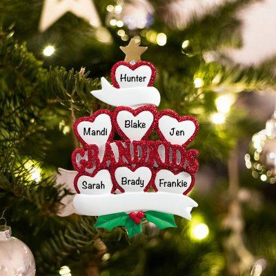 Personalized Grandkids 7 Christmas Ornament