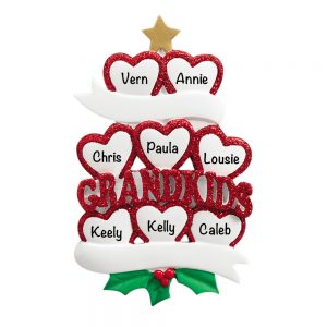 Grandkids Family of 8 Personalized Christmas Ornaments