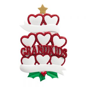 Grandkids Family of 8 Personalized Christmas Ornaments - Blank