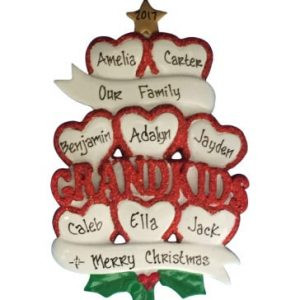 Grandkids Hearts Personalized Christmas Ornament Family Of 8
