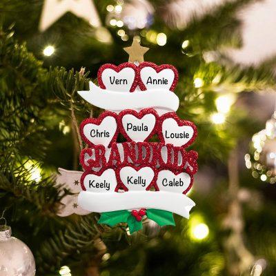 Personalized Grandkids 8 Christmas Ornament